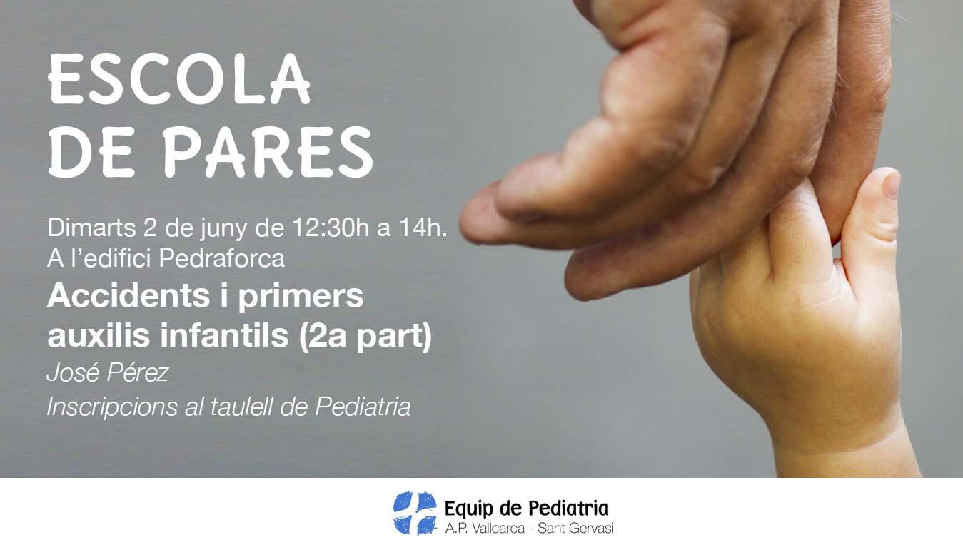 Escola de pares, xerrada sobre primers auxilis pediàtrics. Juny 2015. CAP Vallcarca - Sant Gervasi