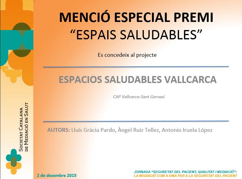 Menció especial espais saludables CAP Vallcarca Sant Gervasi