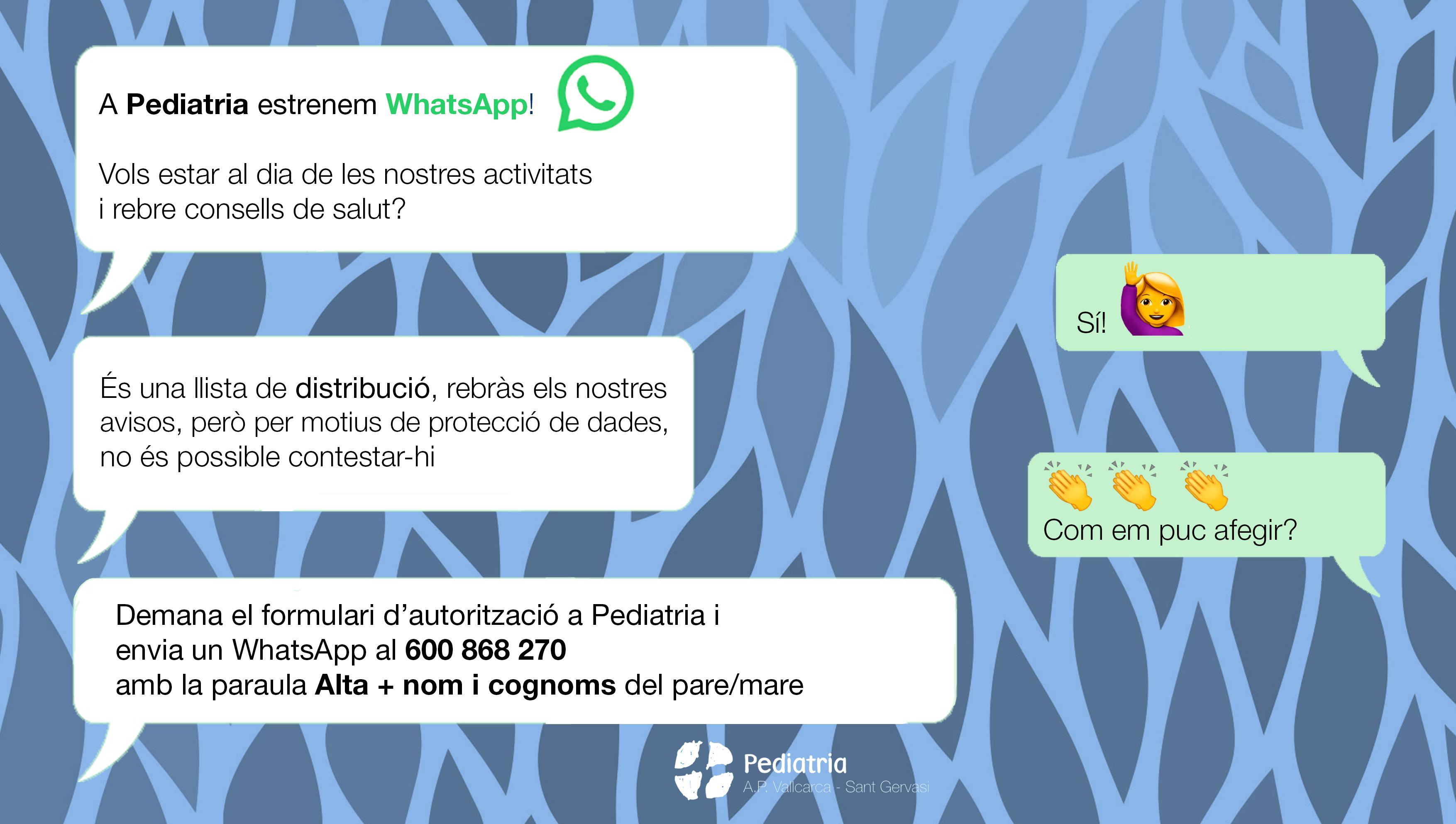 WhatsApp Pediatria - Atenció Primària Vallcarca-Sant Gervasi