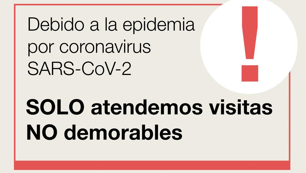 Solo visitas no demorables debido a la epidemia por coronavirus - Atención Primaria Vallcarca-Sant Gervasi