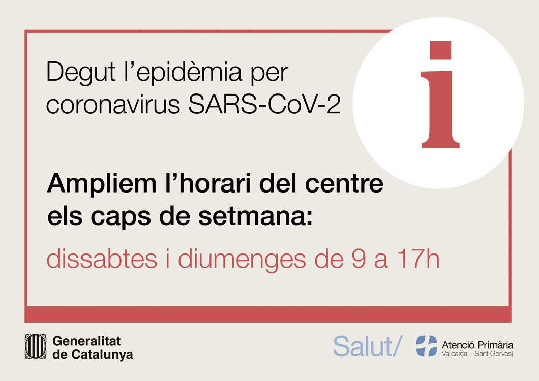 Horari excepcional - Atenció Primària Vallcarca-Sant Gervasi
