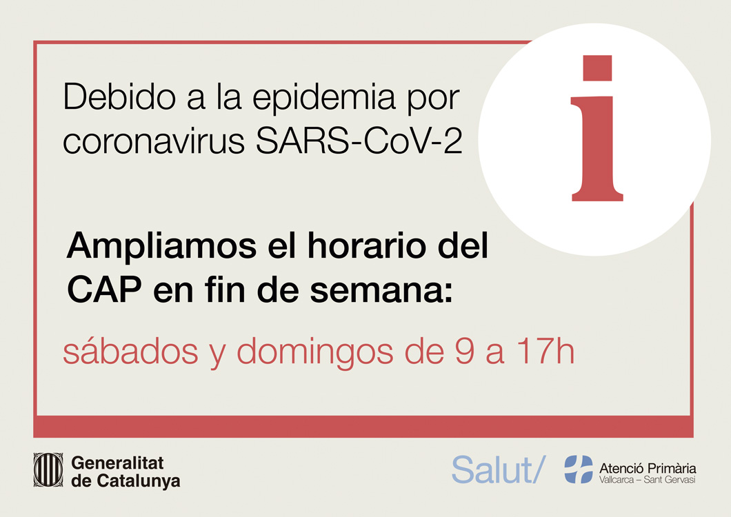 Horario excepcional durante la epidemia - Atención Primaria Vallcarca-Sant Gervasi